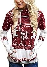 Padaleks Women's Sweatshirts Christmas Polka Dot Bohemian Print Hoodes Ladies Long Sleeve Sweater Pullover Tops