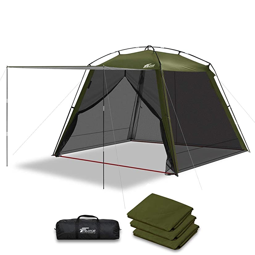 八ディーラーグローバルFIELDOOR スクリーンテント 3m メッシュスクリーン シェード 虫除け 蚊帳 キャンプ バーベキュー