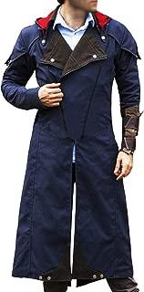 The Signatures Assassin's Unity Arno Victor Dorian Denim Cloak Mens Blue Cosplay Hooded Trench Coat