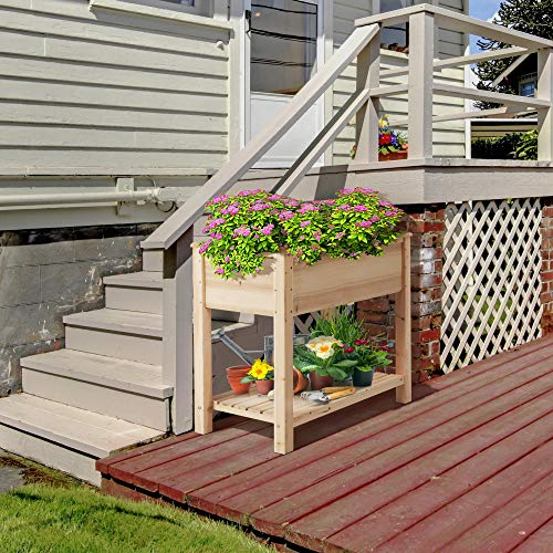 YAHEETECH Wooden Raised Elevated Garden Bed Kit with Legs Planter Flower Herb Boxes for Vegetables Flower with Shelf Solid Wood Outdoor/Indoor