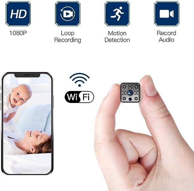 FREDI Cámara espía Wireless Mini cámara de Seguridad HD 1080P WiFi Cámara IP con Detector de Movimiento/micrófono/grabación de Video para iPhone/teléfono Android/iPad