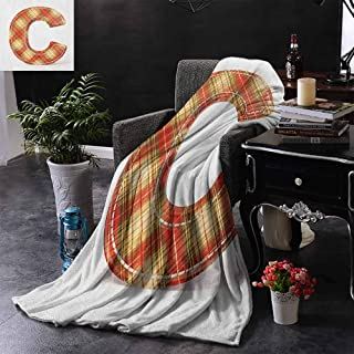 ZSUO Toddler Blanket Vintage Typeface Design with Classical Pattern Sewing Craft Theme Reversible Soft Fabric for Couch Sofa Easy Care 70