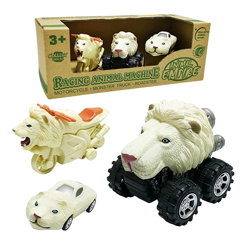 GreenKidz 3-Pack Animal Racing Machines White Lion Car Toy Mini Rev-Up Motorcycle Pull Back Monster Truck and Roadster Cars Gift for 3 Years Old Boys Girls Animal Vehicle Playset Toys