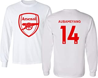 Tcamp Arsenal Shirt Pierre Emerick Aubameyang #14 Men's Long Sleeve Tshirt