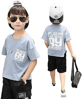 YUEGUANG キッズ 男の子 半袖Tシャツ 半ズボン 夏 子供服 上下セット Tシャツ+ ハーフパンツ 2点セット 通学 カジュアル おしゃれ 普段着