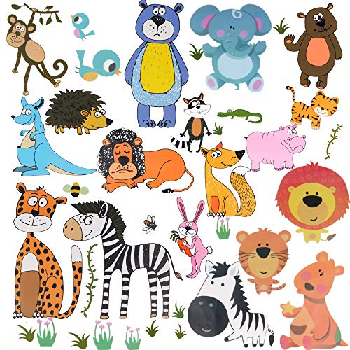 AriTan Forest Animals Window Stickers for Kids Boys and Girls,Double Sided No Glue Flexible Reusable Clings,Decorations Jungle Wildlife Monkey Lion Tiger Rabbit Elephant Kangaroo