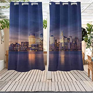Xlcsomf Cityscape IKEA Outdoor Curtains New York City Manhattan After Sunset View Picture with Skyline Reflection on River Room Darkening Thermal W63 x L45 inch Navy Gold