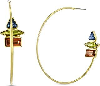 Steve Madden Multi Color Rhinestone Cluster End Wire Hoop Earrings for Women