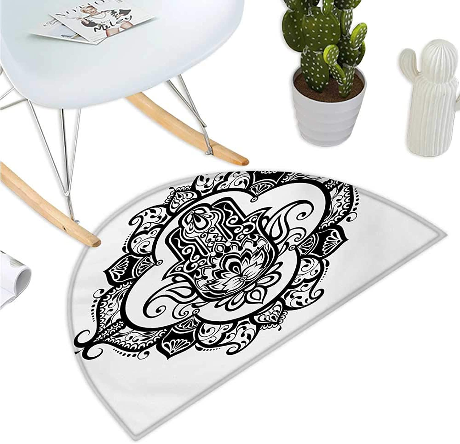 Hamsa Half Round Door mats Curvy Ornate Frame with Antique Religious Motif Floral Ethnic Tattoo Hand of Fatima Bathroom Mat H 35.4  xD 53.1  Black White