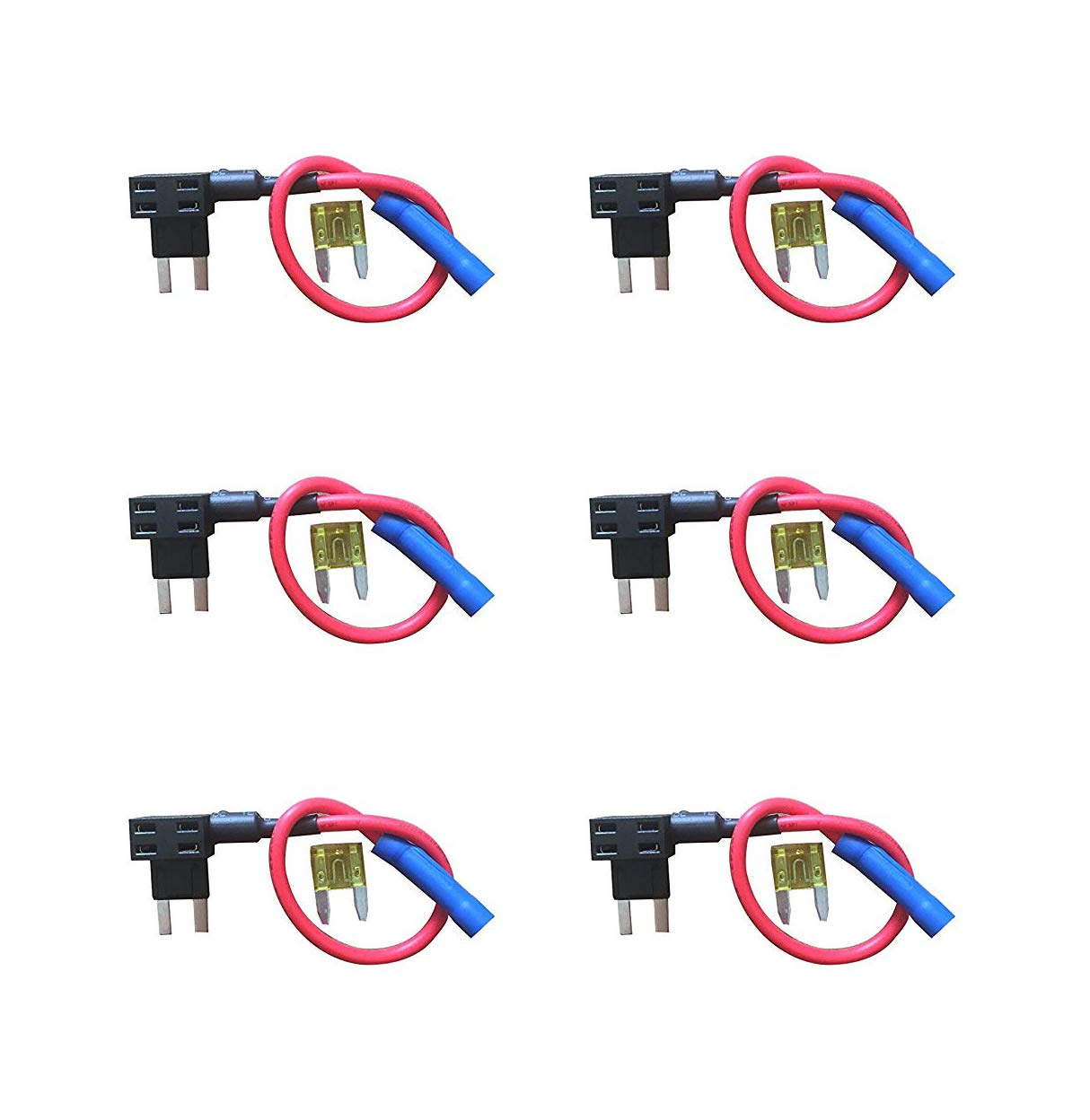Quacc 4 x Circuit Fuse Tap Universal Piggy Back Mini Blade Ato Atc Fuse Holder Box 12V 24V with 10A Circuit Mini Blade