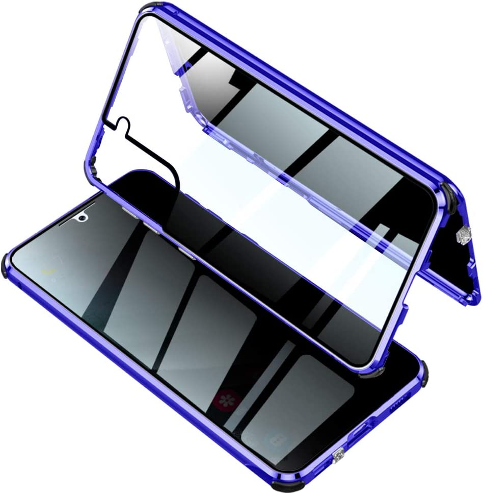 YEEHi Anti Peeping Case for Galaxy S21 5G Lockable Magnetic Glass Case with Privacy Screen Protector Luminous Airbag Safety Lock 360 Full Body Glass Bumper Case Cover (S21, Blue)