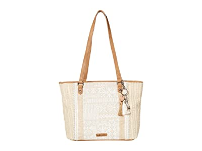 Sakroots Artist Circle Medium Satchel (White Tribal Brave Beauti 2) Satchel Handbags