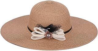 SHENLIJUAN Sun hat Ladies Summer Cool Travel Straw hat Sun hat Sunscreen Along The Beach hat (Color : Brown)