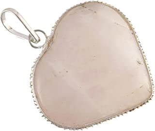 5Elements Premium Chakra Healing Pink Rose Quartz Pendant for Love and Meditation in Heart Shape