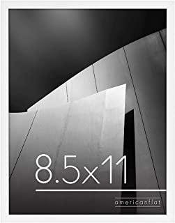 Americanflat 8.5x11 Thin Picture Frame in White with Shatter Resistant Glass - Horizontal and Vertical Formats for Wall an...