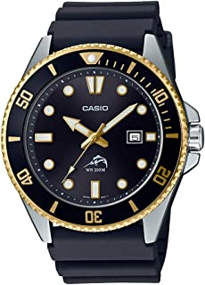 Casio Men's Diver Inspired Stainless Steel Quartz Resin Strap, Black, 25.6 Casual Watch (Model: MDV-106G-1AVCF)