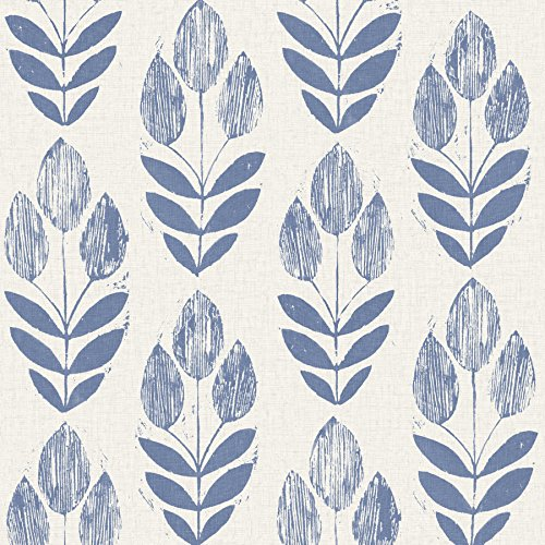 Beacon House 2535-20652 Scandinavian Block Print Tulip Wallpaper, Blue
