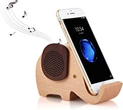 Artinova Wooden Portable Wireless Bluetooth Speaker with Cell Phone Stand Holder for Desktop (Elephant Shape) ARTA-0031