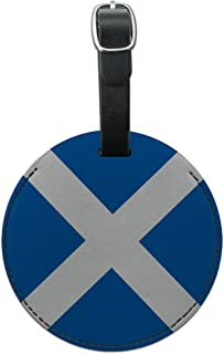 Graphics & More Scotland National Country Flag Round Leather Luggage Id Tag Suitcase Carry-on, Black