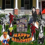 VictoryStore Yard Sign Outdoor Lawn Decorations: Halloween Yard Decorations Bundle - Haunted House, Life-Size Witch, Frankenstein, Werewolf, Dracula, Zombies & Happy Halloween Sign