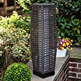 Floor Lamp Grand Patio Outdoor Lamp Patio Lights Solar Powered Lantern Weather–Resistant Rattan Deck Lights, Lamp Large-Sized for Garden