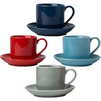 4oz. Espresso Cups Set of 4 With Matching Saucers Premium