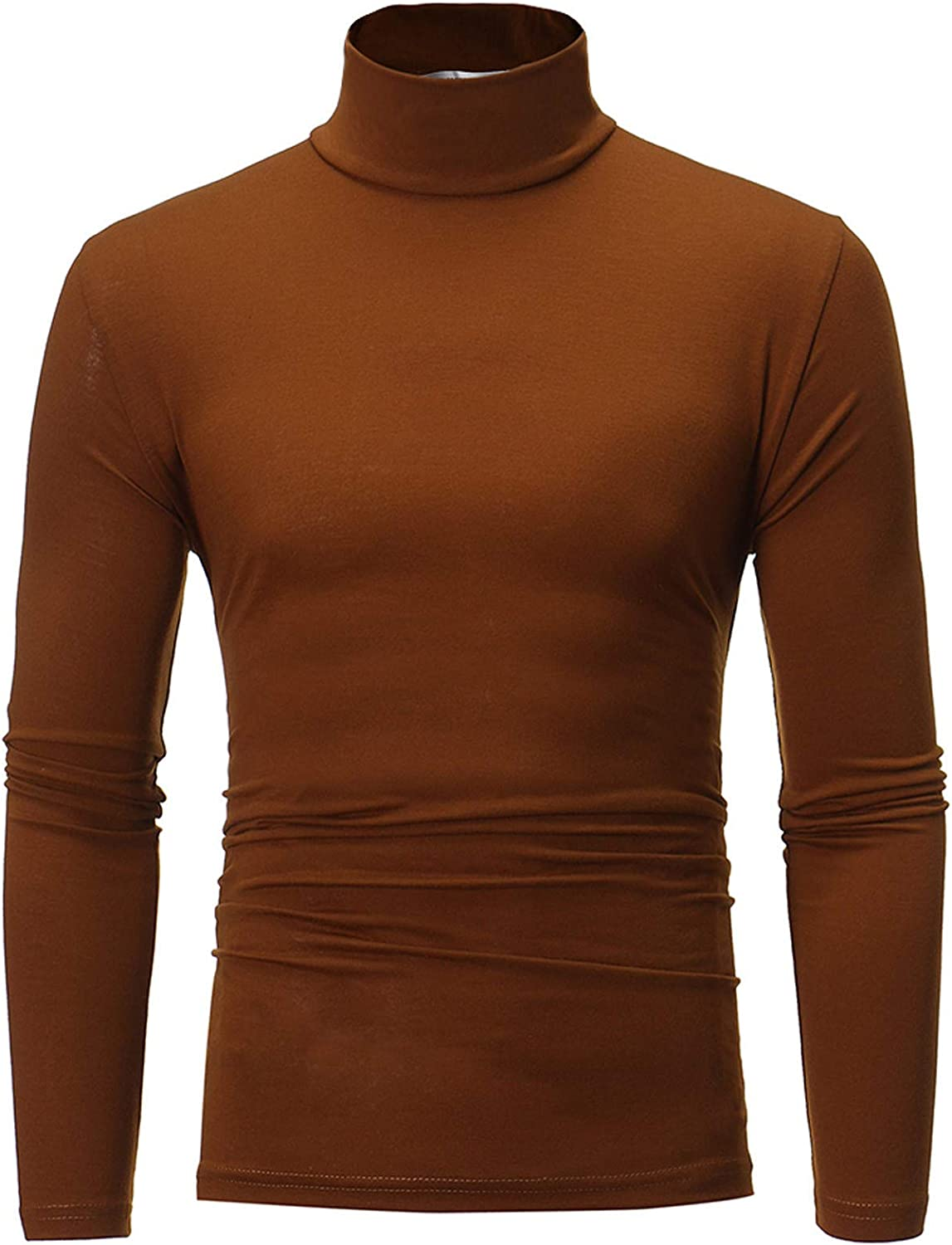 Sexyp-tops Men Clothes,Men's Turtleneck Long Sleeve Solid Colour Stretch Slim Fit Bottoming Top Blouse Undershirts
