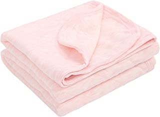 "TILLYOU Allergy-Free Quilted Cotton Baby Blanket for All Seasons, Lightweight Warm Toddler Bed Crib Blanket, Super Soft and Breathable Daycare Nap/Nursery Sleeping Blanket, Heather Pink 39""x47"""
