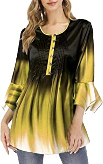 GAGA Women Gradient Tops V Neck Soft T-Shirts Flowy Tunic Button up Casual Blouses Short Sleeves