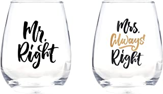 Mr.Right and Mrs Always Right Wine Glass set of 2 for wedding gifts, engagement gifts, and anniversary gifts.