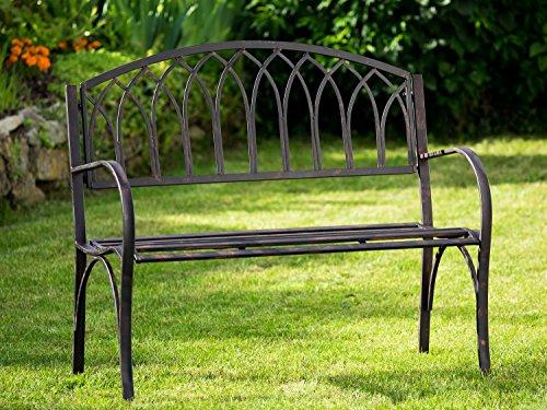 Nostalgie Gartenbank Metall Eisen Antik-Stil braun Gartenmöbel Garten Park Bank - 2