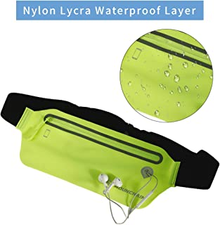 Mounchain Mens Womens Running Belt, Waterproof Adjustable Waist Fanny Pack for Jogging Climbing Hiking Cycling Outdoor Activities, Fits All Kinds of Phones Including iPhone & Android(Green)