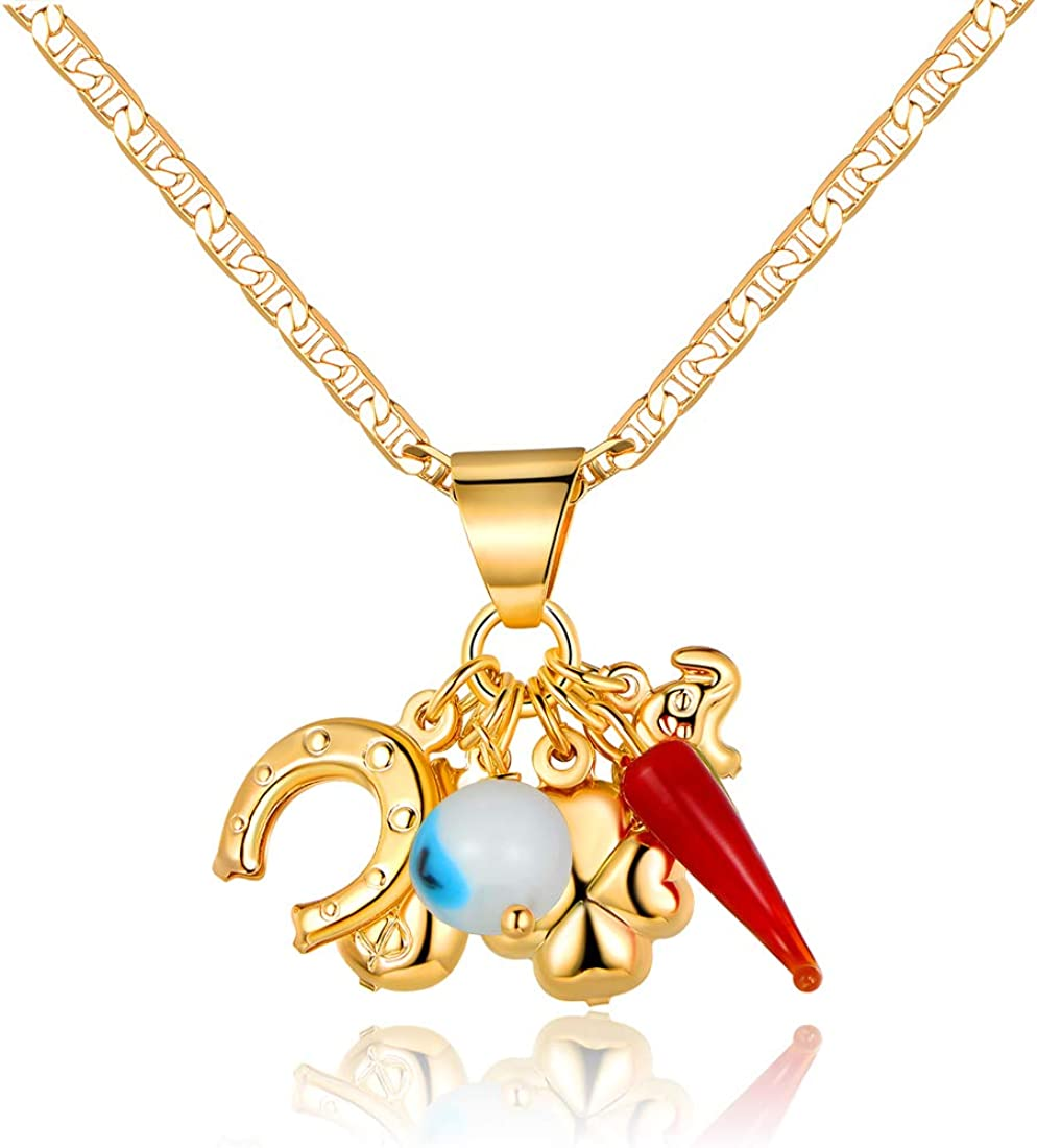 Womens Gold Chain Necklace with Lucky Charms | Barzel 18K Gold Plated Flat Mariner / Marina 060 3MM Chain Necklace With Fun Charms / Lucky Pendants - Made In Brazil
