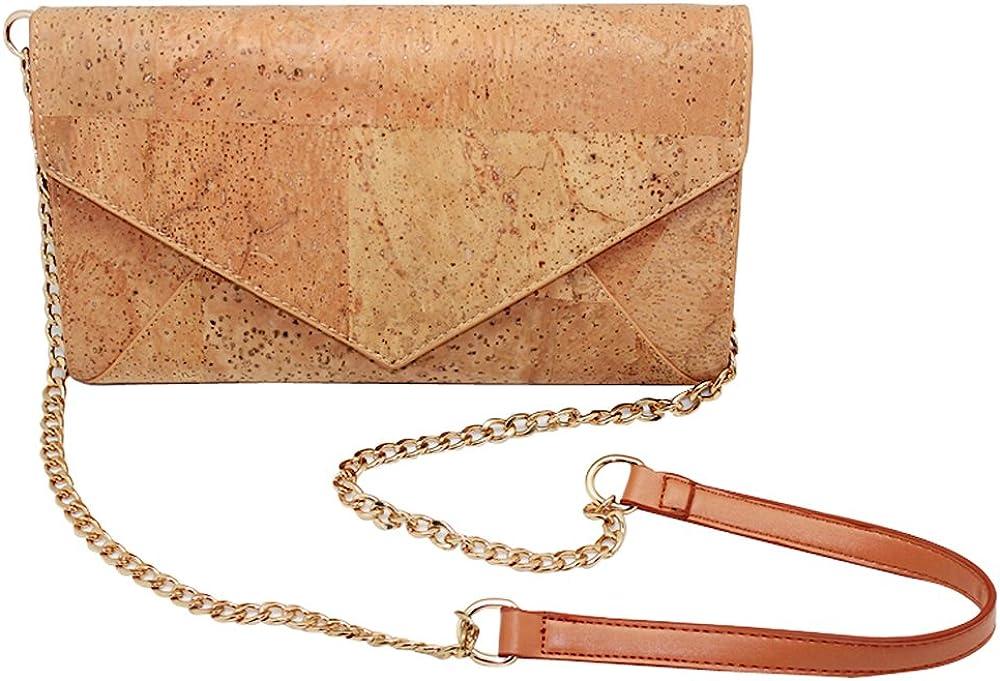 Boshiho Women Vegan Handbag Cork Clutch Wallet Natural Cork Crossbody Bag