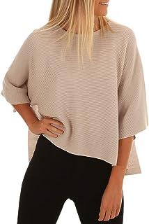 Chellysun Women Oversized Pullover Loose Plain Side Split Knit Sweaters
