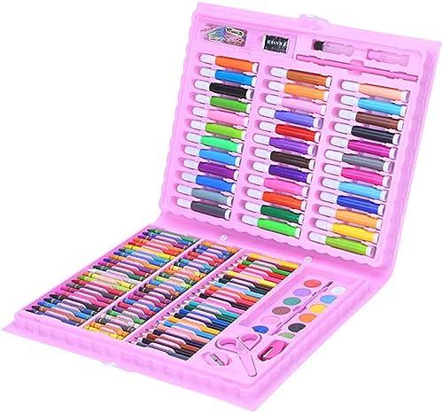 Farbstifte Skizzensatz 150-teiliges Deluxe Art Creativity Set für Kinder mit Kunststoffetui Tolles Geschenk für Kinder Aquarellmalerei Farbstifte (Farbe   Rosa, Größe   Free Größe)