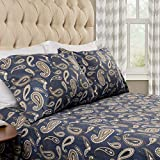 SUPERIOR Deep Pocket Cotton Flannel Paisley Sheet Set, King, Flat Sheet, Fitted Sheet, and Pillowcases, Navy Blue, 4-Pieces