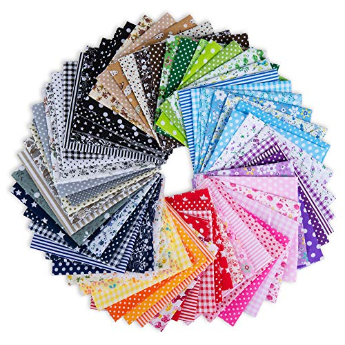 Fabric for Sewing, 70-Piece Cotton Fabric Squares for Sewing, Assorted Design Fabric Scraps, 9.8 x 9.8 Inches