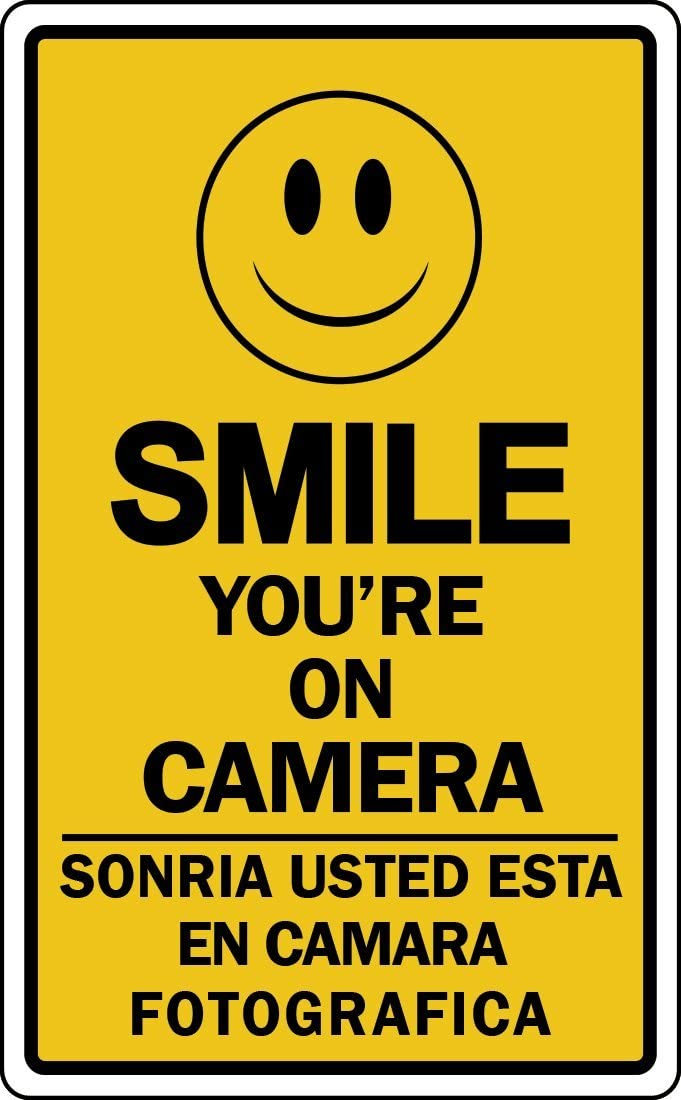 Very popular! Smile In stock You're ON Camera Sign Surveillance Security S Retail Video