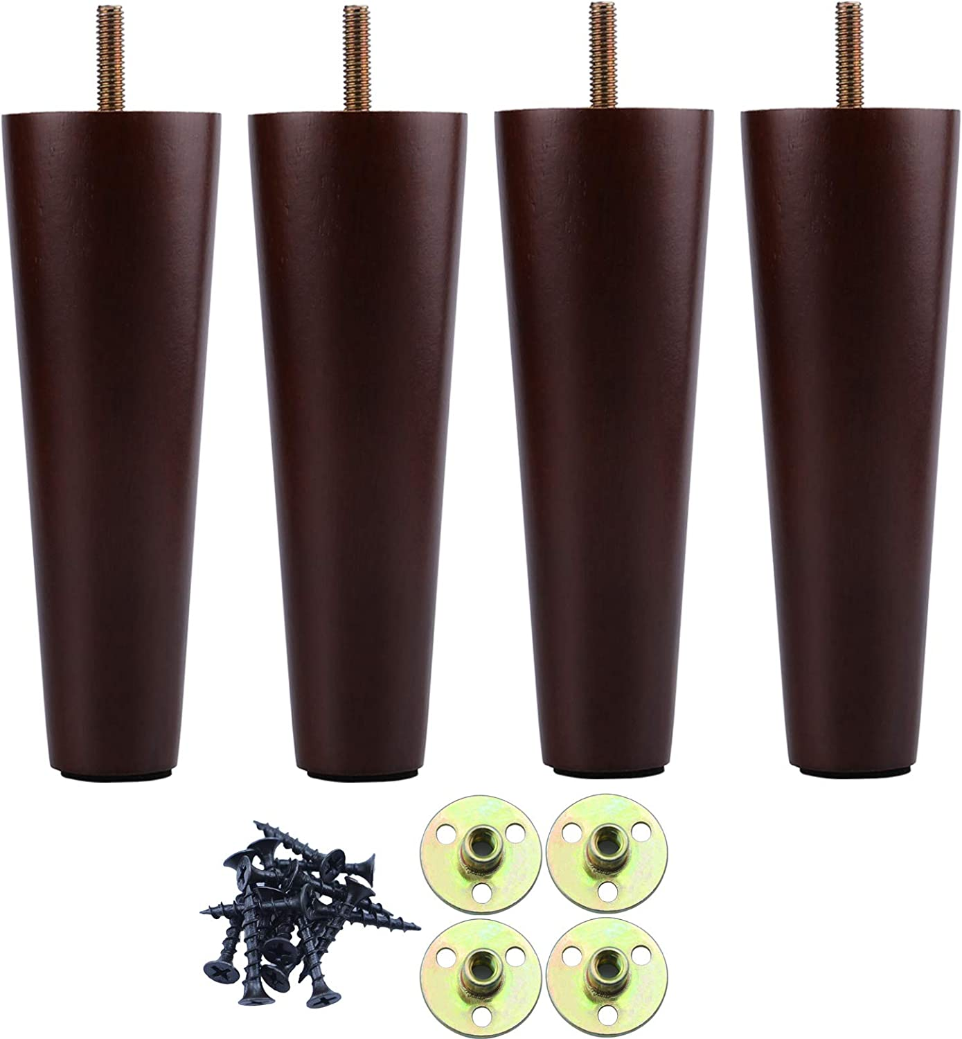 8 Inch Wood Furniture outlet Legs Sofa 4 Brown Selling and selling Set of Furn Wooden