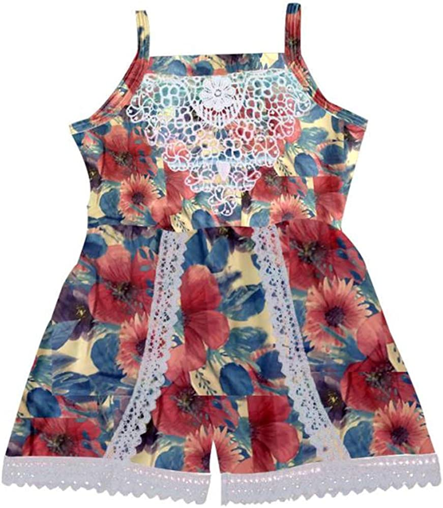 Toddler Kids Girls Lace Trimmed Sl Summer Ruffle Romper Great interest Jumpsuit Seasonal Wrap Introduction