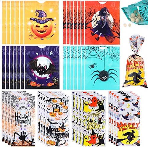 Uoeo 170 Pieces Halloween Candy Bags, Halloween Drawstring Goodie Bags Halloween Cello Bags Halloween Cellophane Treat Bags Candy Treat Bags Halloween Party Favors Supplies, 8 Designs