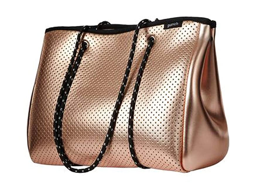 PUNCH Neoprene Canvas & Beach Tote Bag, 34 cm, Metallic Rose Gold