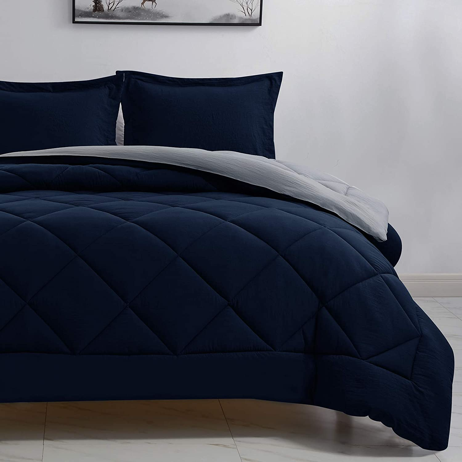 Today's only CozyLux Queen Oklahoma City Mall Full Reversible Comforter Li Set 3-Piece Blue Navy