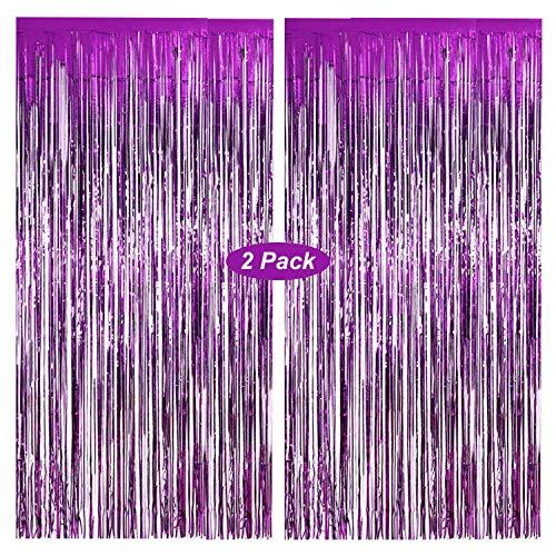 Gxhong Lametta Vorhänge Lila, 2 Stück Metallic Tinsel Vorhänge/Folie Fringe Shimmer Vorhang Glitzer Deko Geburtstag Lametta Vorhänge Quaste Folie Vorhang (Lila)