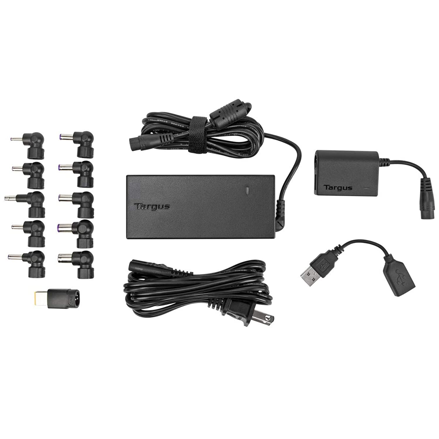 Targus 90W AC Universal Laptop and Mobile Device Charger with USB Port, Includes 12 Power Tips Compatible with Major Brands: Acer, ASUS, HP, Compaq, Dell, Toshiba, Gateway, IBM, Lenovo, Fujitsu (APA32USZ)
