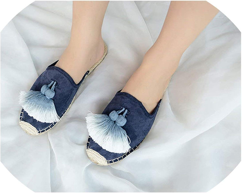 April With You Handcraft Tassel Slippers kvinnor sammet Mules Mules Mules skor sommar Knights Straw Knights Slippers  upp till 42% rabatt