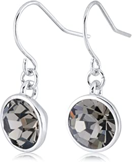 Rhodium Plated Crystals from Swarovski Silver-Tone Dangle Drop French Hook Earrings