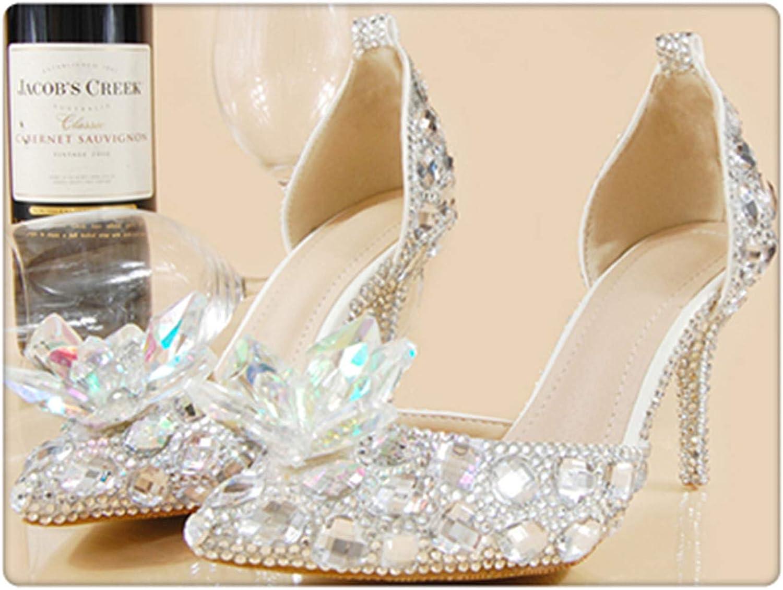 Wedding schuhe Bride damen Summer Sandals Crystal News Lady Big Größe High Heels Princess schuhe Silber rot Farbeful DisFarbea schuhe Silber 7cm Heel 41