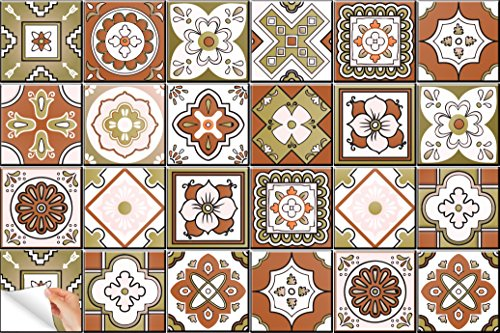 Backsplash azulejo pegatinas 24Pc Set auténtico tradicional Talavera azulejos stickersl azulejos de cocina y baño fácil de aplicar despegar y pegar adhesivos decoración del hogar 4x 4pulgadas